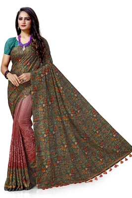 Grey embroidered tussar silk saree with blouse