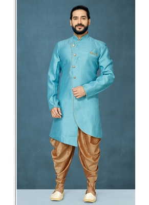 Blue hand woven  silk indo-western-dresses