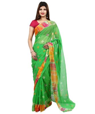 green plain chiffon saree with blouse