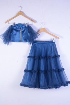 Blue net with satin wedding wear lahenga choli for girl wear