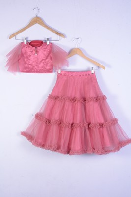 Brown colour silk with net wedding wear lahenga choli for girl