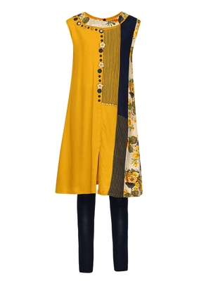 Yellow printed Cotton kids kurta set