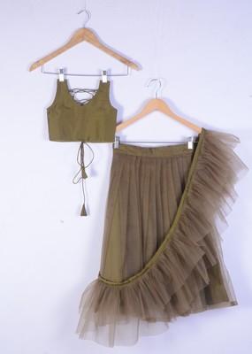 Dark golden satin with net full lenght wedding wear lahenga choli set for girl