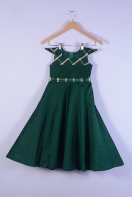 Green cotton silk long gown for girl