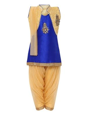 Blue printed silk blend kids kurta set