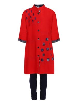 Red printed Cotton kids kurta set