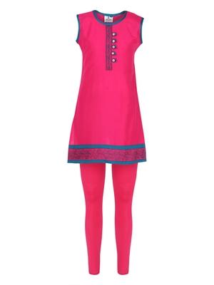 Pink printed Cotton kids kurta set