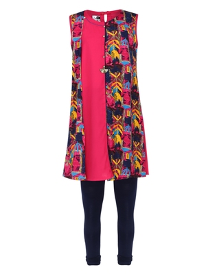 Pink Printed Cotton Kids Kurta Set
