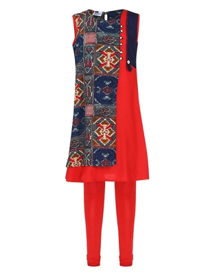 Red printed Cotton kids kurta set