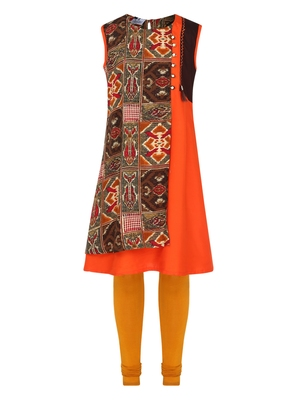 Orange Printed Cotton Kids Kurta Set
