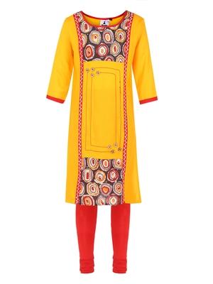 Yellow printed Cotton kids kurta set