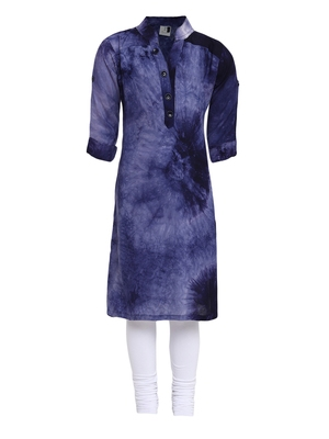 Blue printed Cotton kids kurta set