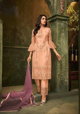 Orange embroidered santoon salwar