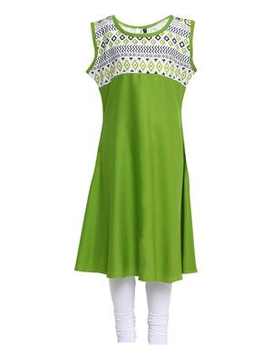 Green printed Cotton kids kurta set