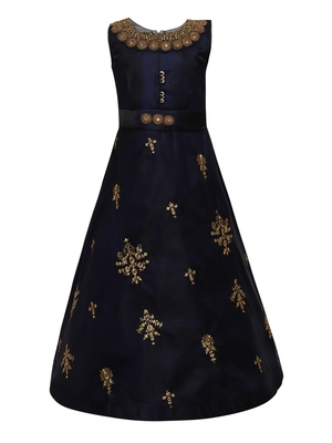 navy blue silk blend party gown