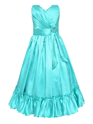 Green Satin Party Gown