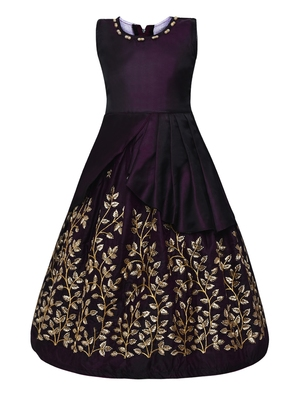 purple silk blend party gown