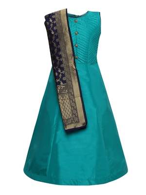 green silk blend party gown