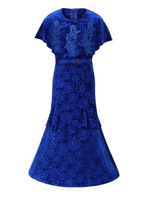 blue velvet party gown