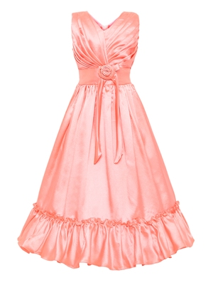 orange satin party gown