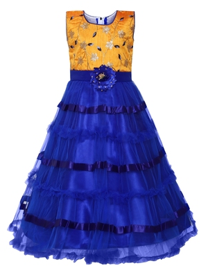 blue silk blend party gown