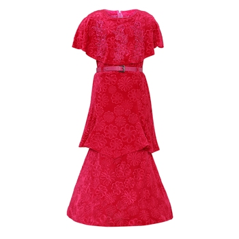 Red Silk Blend Party Gown