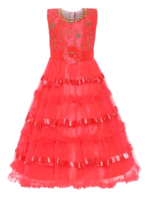 red embroidered net gown