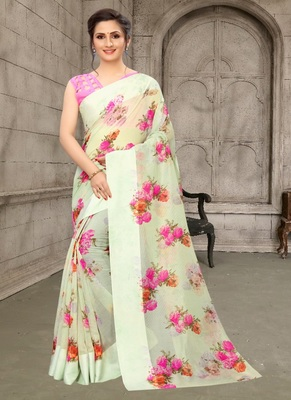 Parrot green printed cotton saree with blouse