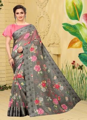 Dark grey printed cotton saree with blouse