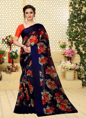 Dark blue printed cotton saree with blouse