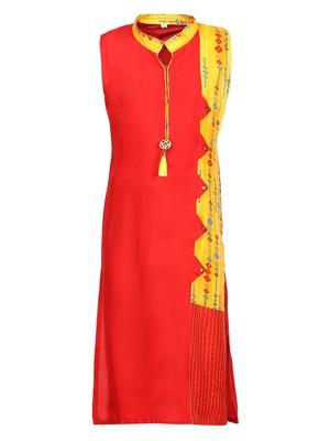 red cotton regular kurti