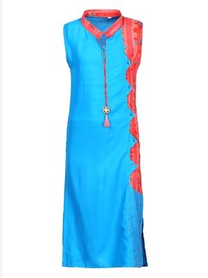 blue cotton regular kurti