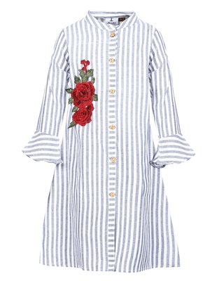 bell sleeved floral patch kurti