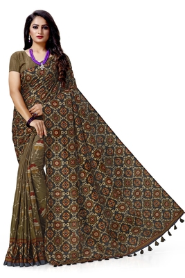 Black embroidered tussar silk saree with blouse