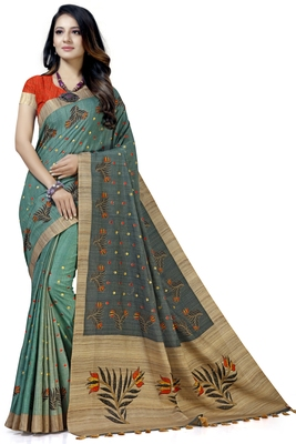 Green embroidered tussar silk saree with blouse