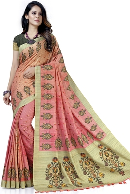 Pink embroidered tussar silk saree with blouse