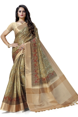 Beige woven silk saree with blouse