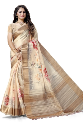 Cream woven silk saree with blouse