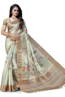 Light green woven silk saree with blouse