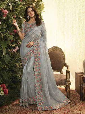 Grey Embroidered Pure Organza Saree With Blouse