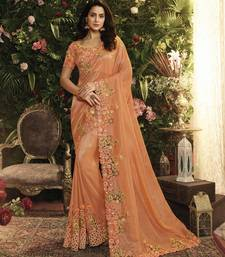 Orange Embroidered Pure Tissue Saree With Blouse