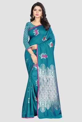 Turquoise woven kanchipuram silk saree with blouse