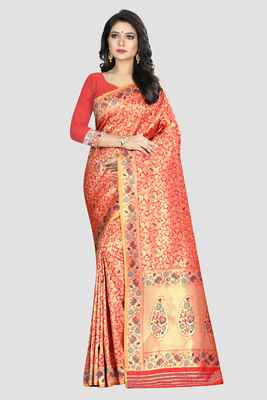 Red Woven Kanchipuram Silk Saree With Blouse