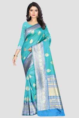 Multicolor woven kanchipuram silk saree with blouse