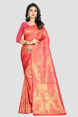 Pink Woven Kanchipuram Silk Saree With Blouse
