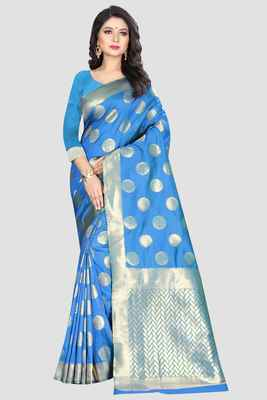 Blue woven kanchipuram silk saree with blouse