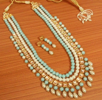 Turquoise pearl necklace-sets