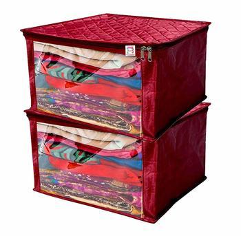 atorakushon® Satin Saree Cover Garments Cover Bag Wardrobe Organiser Up to 15 Clothes Storage Set Pack of 2 (Maroon)