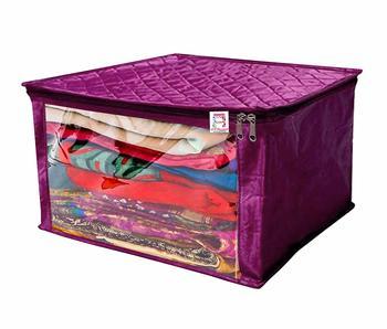 atorakushon® Satin Saree Cover Garments Cover Bag Wardrobe Organiser Up to 15 Clothes Storage Set Pack of 1 (Purple)