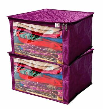 atorakushon® Satin Saree Cover Garments Cover Bag Wardrobe Organiser Up to 15 Clothes Storage Set Pack of 2 (Purple)